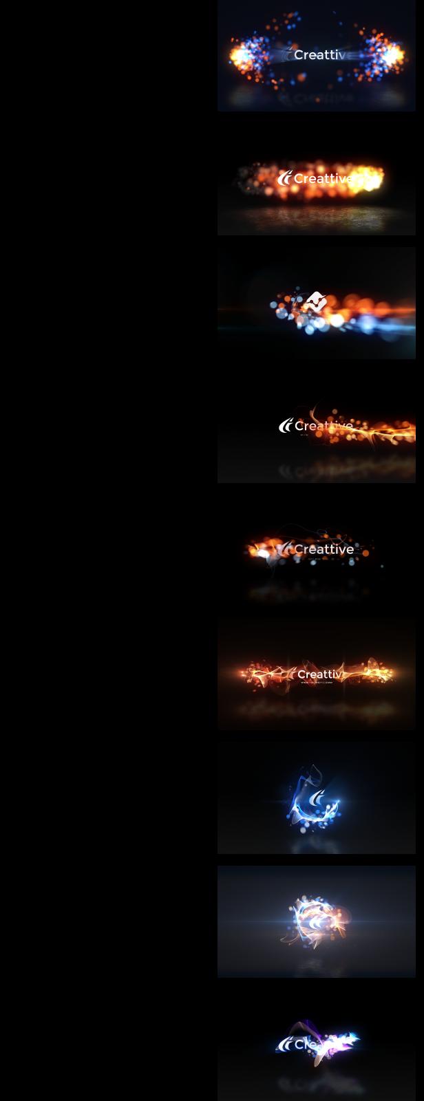 9种发光粒子logo演绎AE模板